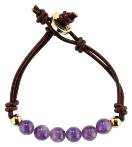 Ettika Ettika AMETHYST BEAD & LEATHER DOUBLE STRAND BRACELET