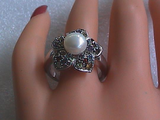 Other Sterling Silver Multi color Stone Pearl Ring