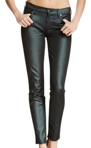 7 For All Mankind Skinny Metallic Emerald Luxe Skinny Jeans-Coated