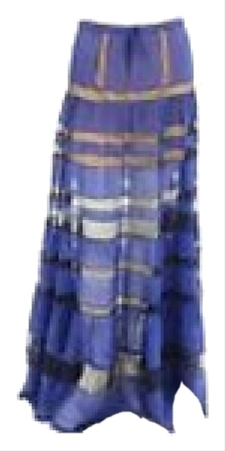 BCBGMAXAZRIA Bcbg Runway Max Azria Sheer Sheer Stripe Wedding Dress Maxi Skirt Blue