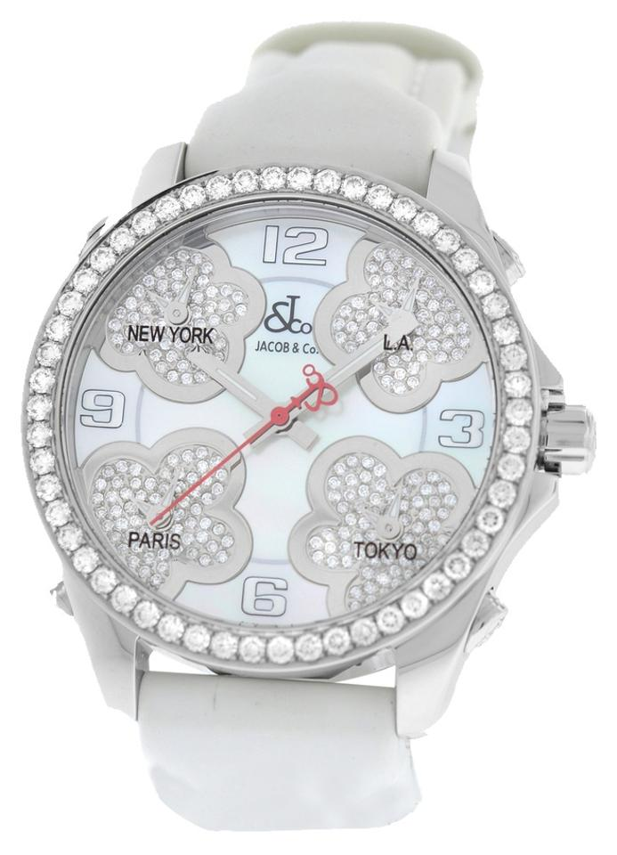 6b5c7944ded455 Jacob   Co. Stainless Steel Five Time Zone Jc-math12 Mop Diamond 40mm. Watch