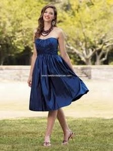 Blue Taffeta Jordan - Style 104 Traditional Bridesmaid/Mob Dress Size 2 (XS)