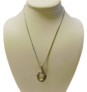 .925 Sterling Silver Marcasite Cameo Locket with 18 Inch Chain