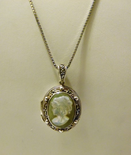 Other .925 Sterling Silver Marcasite Cameo Locket with 18 Inch Chain