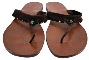 Henry Cuir Barney's New York Brown Beaded Sandals