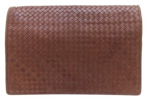 Bottega Veneta Portfolio Vintage Intrecciato Brown Clutch