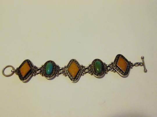 Other Artisan Crafted Muliticolor Gemstone Toggle Bracelet fits 7