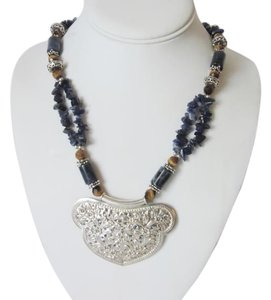 Artisan Crafted .925 Sterling Silver Lapis Gemstone Necklace 18 Inch