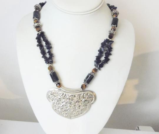 Other Artisan Crafted .925 Sterling Silver Lapis Gemstone Necklace 18 Inch