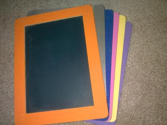Michaels Gray Purple Pink Blue Orange and Yellow Chalkboards with Easels Reception Decoration