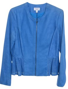 Vakko Leather Blazer Peplum Cobalt Blue Leather Jacket