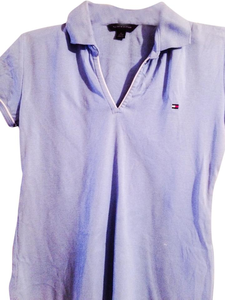 Tommy hilfiger wedgwood blue v neck with collar tee shirt for Tommy hilfiger shirt size chart