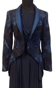 Chanel Vintage Designer Signature Logo Silk Angora Tapestry Wool Blue Jacket