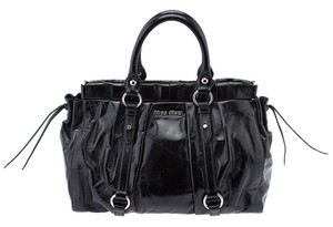 Miu Miu Bauletto Black Crinkled Tote in Leather
