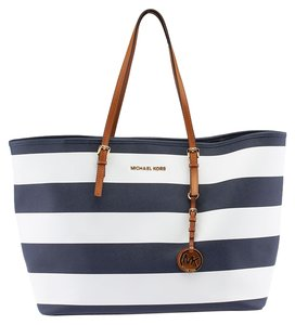 Michael Kors Jet Set Striped Leather Tote in Blue & White