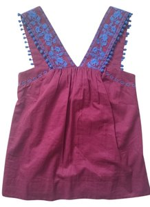 J.Crew Embroidered Red New Top Burgundy and Blue