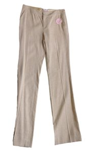 Rebecca Taylor Linen Size 2 Stretch Twill Straight Pants Beige