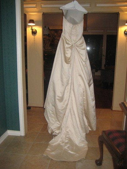 Maggie Sottero Champagne Satin Porsha Lynette Formal Wedding Dress Size 4 (S)