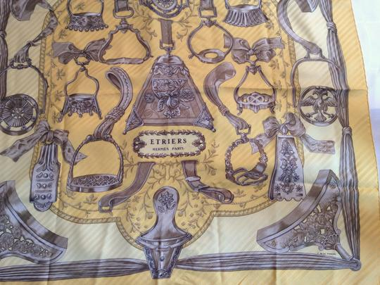 Hermès Hermes 'Etriers' Pleated Yellow Silk Scarf - F. De La Perriere