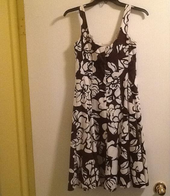 Nine West short dress Black Tropical Print Brown White A-line Resortwear Hawaiian Vacation Daywear Hibiscus Floral Flirty on Tradesy