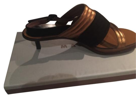 Marni Black, gold and brown Mules