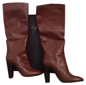 Giuseppe Zanotti Cojo Leather New Nwt Nib Wood Heel Heels Box Dust Bag Dustbag Brown Boots