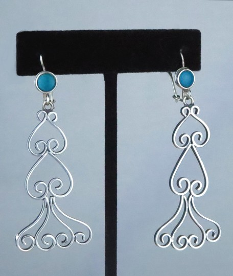 Other VINTAGE * 1970 * HANDMADE MEXICAN TURQUOIS & STERLING SILVER DANGLE