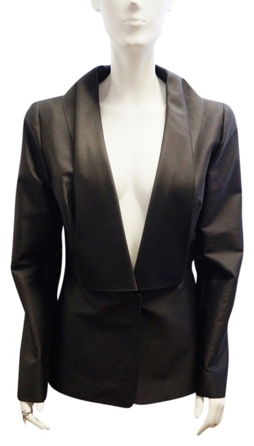 Oscar de la Renta 2009 Single Button Silk Jacket Large Lapel Large 14 Black Blazer