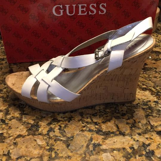 Guess White/cork Wedges