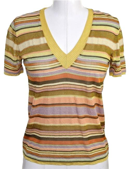 Preload https://img-static.tradesy.com/item/4254466/missoni-multi-color-orange-label-v-neck-striped-knit-gold-40-sweaterpullover-size-4-s-0-0-650-650.jpg