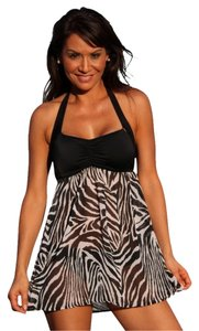 UjENA NWT UJENA 2X Sheer Zebra Swim Dress Complete Swimsuit Halter Top Black Bottoms