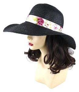 FASHIONISTA Black Beach Sun Cruise Summer Hat Large Wide Brim Floppy Dressy Cap With Floral Accent Ribbon