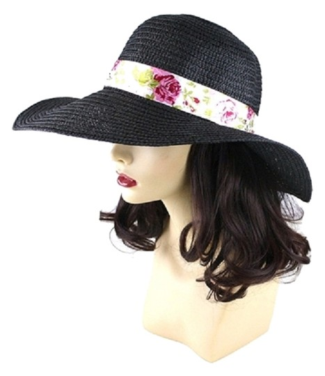 Preload https://item4.tradesy.com/images/black-floral-accent-fashionista-beach-sun-cruise-summer-large-wide-brim-floppy-dressy-cap-with-ribbo-4254598-0-0.jpg?width=440&height=440