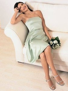 Alfred Angelo Sage Green Satin Style 6837 Casual Bridesmaid/Mob Dress Size 8 (M)