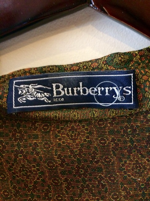 Burberry Viscose Rayon Cuppo Rayon Button Down Shirt olive and gold paisley