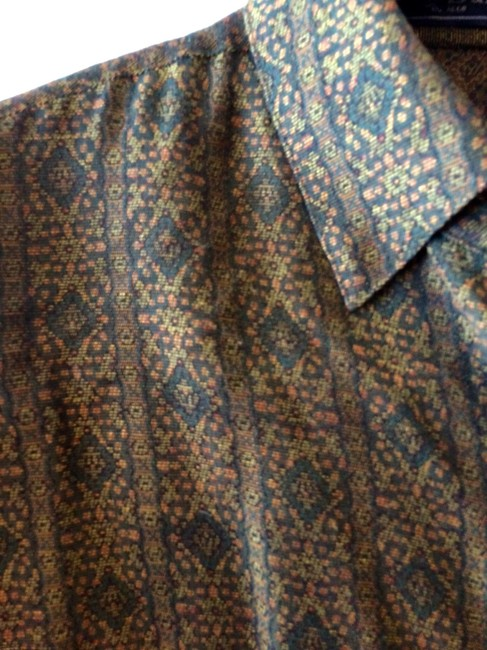 Burberry Viscose Rayon Cuppo Rayon Button Down Shirt olive and gold paisley Image 2