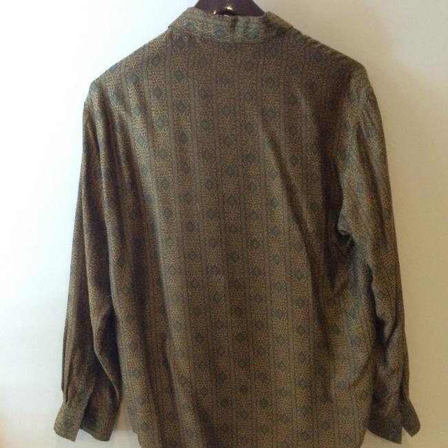 Burberry Viscose Rayon Cuppo Rayon Button Down Shirt olive and gold paisley Image 3