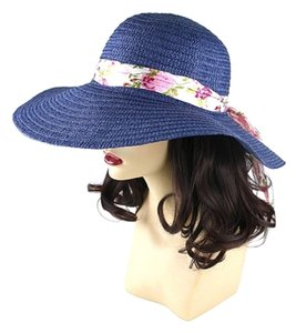 Other FASHIONISTA Blue with Floral Ribbon Accent Beach Sun Cruise Summer Large Floppy Dressy Hat cap