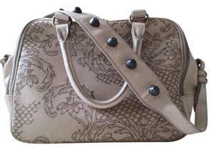 Isabella Fiore Matte Leather Satchel in Taupe/Brown