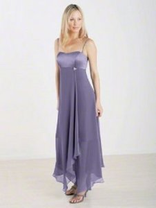 Alfred Angelo Victorian Lilac Satin / Chiffon Style 6343 Destination Bridesmaid/Mob Dress Size 12 (L)
