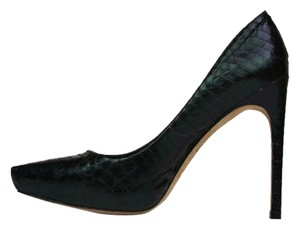 Rachel Roy Snakeskin Leather Pointed Toe Iridescent Black Pumps