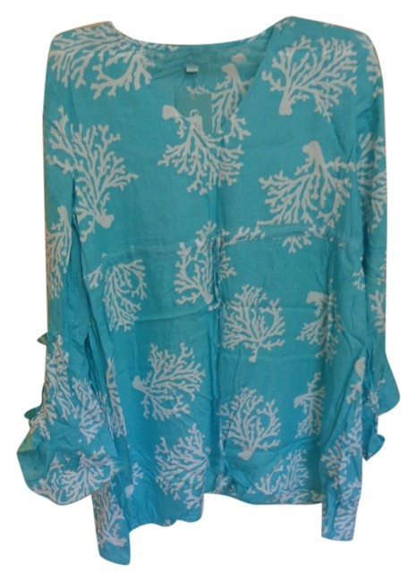 Item - Aqua and White Beach Cove Up. Cover-up/Sarong Size Petite 2 (XS)
