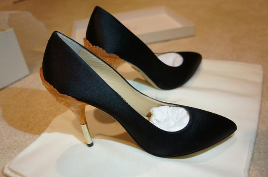 Charlotte Olympia Silk-satin Handmade In Italy Leather Insole Leather Sole Black Pumps