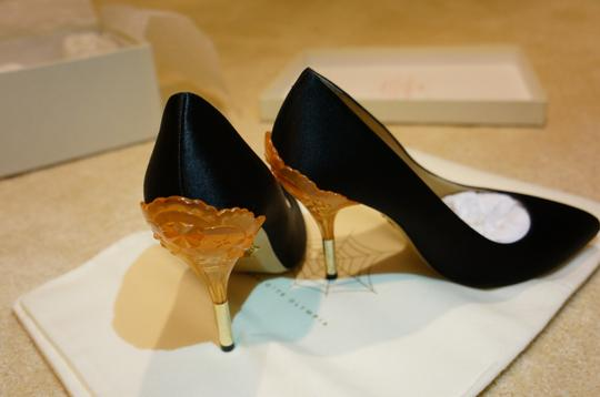 Charlotte Olympia Silk-satin Handmade In Italy Leather Leather Sole Black Pumps