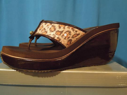 Volatile brown leopard print Wedges