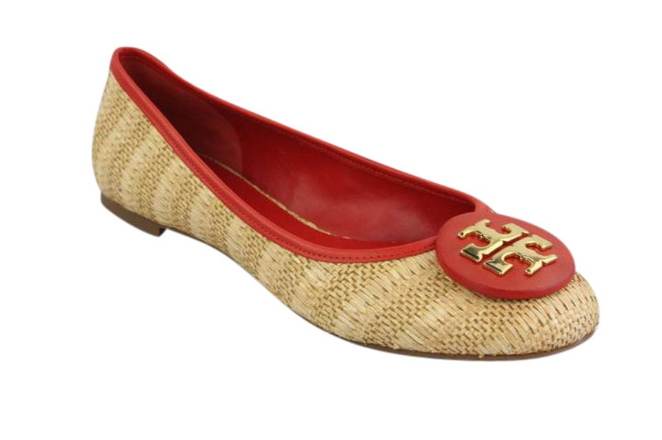 c1f95308d Tory Burch Red Natural Reva Raffia Flats Size US 10.5 Regular (M