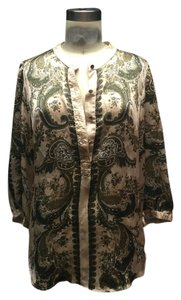New York & Company Paisley Silk Bohemian Hippie Tunic