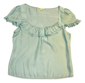 Leifsdottir Bohemian Silk Ruffled Top Green