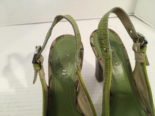 Coach Marbled Made Italy NEW Greens patent leather lining soles leather slingback Italian peep toe Pumps