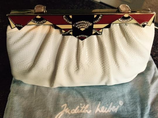 Judith Leiber Vintage Lizard Art Deco Crystals Wedding Cocktail white, red, black, silver Clutch